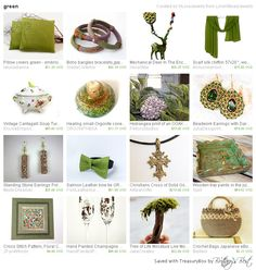 Green, a treasury by LoraViBeadJewelry.  Thanks for including our cross-stitch pattern!
