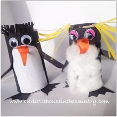 We've been having a lot of fun making our little toilet roll penguins this morning- we'll be making a few more little friends for these two this afternoon when D gets home from school. Details in the blog later xx