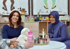 Crown Princess Mary and First Lady Hayrünnisa Gül visited the Women Shelter Danner Stiftelsen to watch project of the Mary Foundation in Copenhagen.