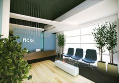 FLOSS Dental Studio- this dental office waiting room has a bright, clean, modern design. (Architect: 2 Point Perspective) - Another! Medical Office Interior, Dental Office Decor, Medical Office Design, Healthcare Design, Clinic Interior Design, Clinic Design, Office Interior Design, Interior Paint, Sustainable Architecture