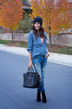 DETAILS:Chambray Top / Neon Tank / Zara Jeans (similar here)Alexander Wang Boots / Celine Bag Boyfriend Watch / Beanie / Strand Necklace Keeping it basic with a little chambray on denim a…
