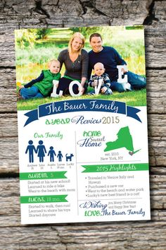 YEAR IN REVIEW Custom Family Christmas Holiday Photo Digital Card- diy, you print, printable