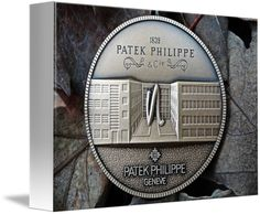 """Patek Philippe Geneve Commemorative Medal Coin $62 // Style: White Edge Canvas Print; Size: Petite 7"""" x 10"""" // Visit http://www.imagekind.com/Patek-Philippe-Geneve-PPG_art?IMID=8a85802b-eeec-4645-9012-f6a2af3151ab for product details."""