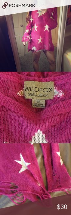 """Wildfox Seeing Stars Lennon Sweater Hot Pink The Lennon Sweater in """"Seeing Stars"""" by Wildfox Couture White Label in Hot Pink ❤️❤️❤️ size medium. Included are my actual sweater and then photos of celebs and fashion bloggers in the same sweater for style inspiration. Wildfox Couture Sweaters"""