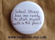 teacher school stress pinback button badge by beanforest on Etsy