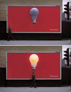 This ad from The Economist recently won a prize at the London International Advertising Awards for their bright concept. Created by Abbott Mead Vickers BBDO, this billboard shows a light bulb that illuminates whenever someone walks under it by hooking some electric motion sensors under the sign.