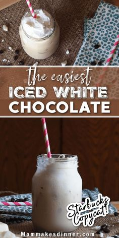 How to make a copycat Starbucks iced white chocolate mocha at home! Recipe includes a homemade white chocolate sauce that you can use over and over again. Starbucks White Chocolate Mocha, White Chocolate Sauce, Copycat, Coffee Drinks, Whipped Cream, Easy Diy, Homemade, Recipes, Food