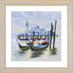 СВ4069 Wharf in Venice. Cross stitch kits with canvas with printed
