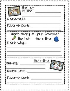 JAN BRETT'S THE HAT AND THE MITTEN FREEBIE - TeachersPayTeachers.com