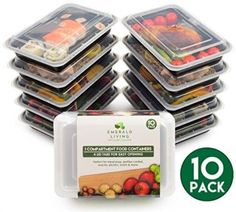 10-Pack-1-Compartment-BPA-Free-Meal-Prep-Containers-Reusable-Plastic-Food