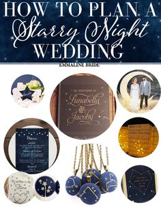 Wedding Ideas - by paper moon shoppe co., photo: traveling tree photography One of our favorite decor ideas for vintage or classic weddings is a starry night wedding theme. Starry night weddings revolve around sta… Galaxy Wedding, Starry Night Wedding, Moon Wedding, Celestial Wedding, Wedding Wishes, Wedding Favors, Dream Wedding, Wedding Day, Starry Nights
