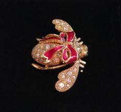 NEW Joan Rivers Goldtone Winter Bee Crystal Bee Pin w Red Ribbon! #JoanRivers