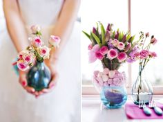 Mixed flowers in different size vases