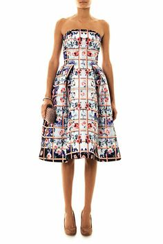 Mary Katrantzou Foli Rose-Print strapless dress, from The Gowns We'd Wear To The Golden Globes  #refinery29