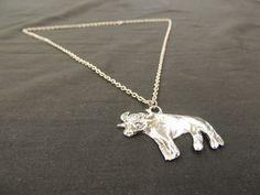 Vintage Silvertone Cow Bull Bovine Farm Animal Charm Pendant Necklace Italy   #Unbranded #Pendant