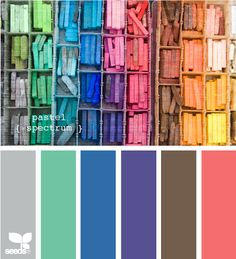 Pastel spectrum. (I actually like the colors in the photos better than the selected swatch colors.)