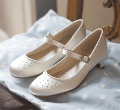 Heeled White First Communion Shoes with AB Crystals  - Couture Childrens Rainbow Club - Verity - Girls White Satin Communion Shoes  with Str...