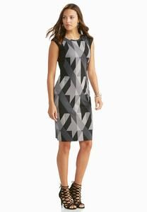 Mixed Geometric Ponte Sheath Dress