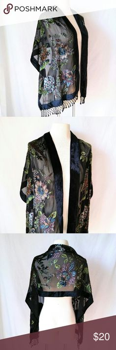 "BEADED Formal Shawl Gorgeous Sheer Black Shawl with Velvet Trim and Beautiful Beaded Fringe Tassels & Beaded Peacock Design. Shawl / Shrug / Cover Up :: Perfect for Prom! In excellent used condition. From a smoke free home. Make an offer! SAVE on SHIPPING & get a DISCOUNT by making a BUNDLE! Get 20% off on 2+ items. 2for1 SCARF SALE: Buy one ""2for1"" scarf at full price and get another scarf of equal or lesser value for free! Purchase the first scarf, comment on the second scarf, & I'll ship…"