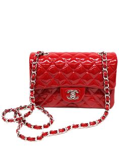 242afd5e09 Gorgeous Chanel red mini flap bag in red patent leather and silver
