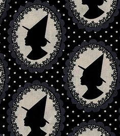 Holiday Inspirations Halloween Fabric - Witch Silhouettes