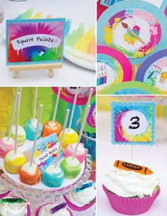 Art Party Rainbow Party 4inch PRINTABLE por CutiePuttiPaperie