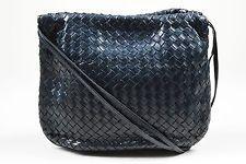 "VINTAGE Bottega Venetta Navy Leather ""Intrecciato"" Drawstring Shoulder Bag"