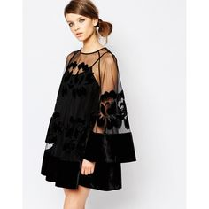 Alice McCall Bell Sleeve Mini Dress with Sheer Insert (505 BGN) ❤ liked on Polyvore featuring dresses, black, tall dresses, keyhole dress, sheer mini dress, round neck dress and transparent dress