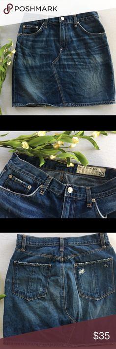 Rag & Bone Distressed Denim Skirt Size 28 In Very Good Condition rag & bone Skirts
