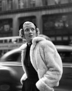 Barbara Wood in Esther Dorothy Muskrat Jacket, New York, New York, 1948.  Photograph by Gordon Parks.