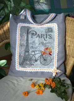 Шьем сумку-авоську с текстильным принтом «Осень в Париже» - Ярмарка Мастеров - ручная работа, handmade