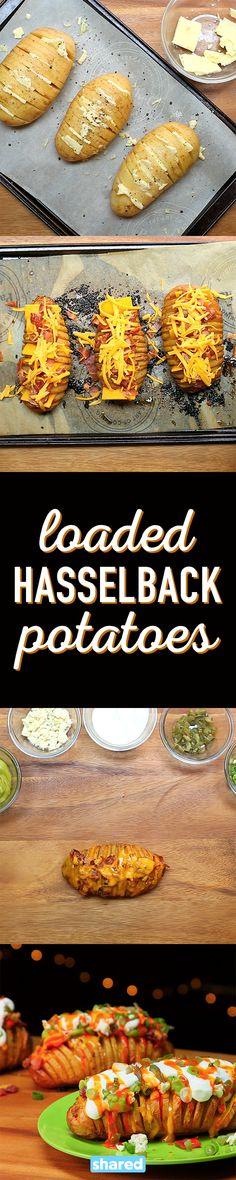 Loaded Hasselback Potatoes Are The Perfect Side Dish Loaded Hasselback Potatoes Tasty Potato Recipes, Side Dish Recipes, Mexican Food Recipes, Side Dishes, Healthy Recipes, Ethnic Recipes, Hasselback Potatoes, Mashed Sweet Potatoes, Yummy Eats
