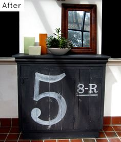 I love the idea of hand painting some numbers or letters on a piece of furniture