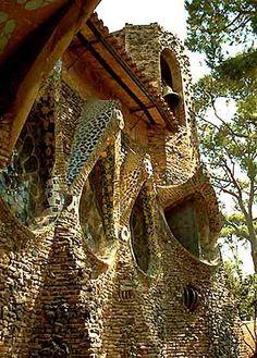 Colonia Güell's Church exterior, Barcelona, Spain;  Antoni Gaudi