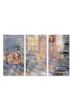 A graceful ballerina is printed on three separate hand-stretched canvases that bring soft color and light to any space. Style Name:Oliver Gal Ballerina Canvas Triptych Wall Art. Style Number: Available in stores. Triptych Wall Art, Oliver Gal, Soft Colors, Ballerina, Nordstrom, Grey, Prints, Painting, Canvases