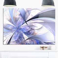 Blue Fractal Flower Design in White - Modern Floral Glossy Metal Wall Art