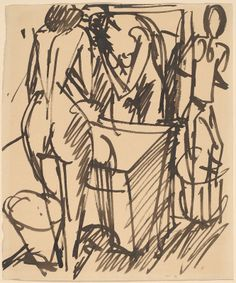 Kirchner, Ernst Ludwig  German, 1880 - 1938  Nude with a Mirror, Standing Before a Washstand