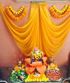 Diwali Red Things jaguar f pace red color Ganpati Decoration Design, Mandir Decoration, Ganapati Decoration, Indian Decoration, Diwali Decorations At Home, Indian Wedding Decorations, Festival Decorations, Flower Decorations, Stage Decorations