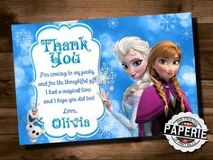FROZEN Printable THANK YOU card Custom by PinkFrostingPaperie