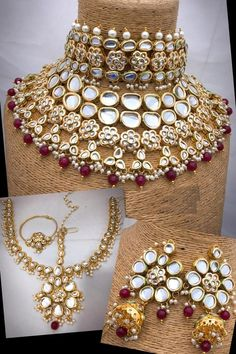 Beautiful Bridal Dulhan Necklace Set with long jhumki earrings & heavy mathapati, Indian Jewelry, Heavy Necklace Bridal Jewelry Set Kundan Jewellery Set, Indian Jewelry Sets, Fancy Jewellery, Indian Wedding Jewelry, Gold Jewellery Design, Indian Bridal, Diamond Jewellery, Gold Jewelry, India Jewelry