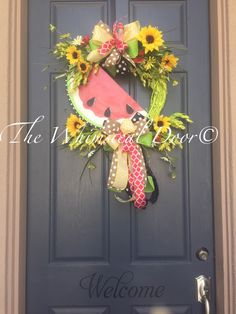 A personal favorite from my Etsy shop https://www.etsy.com/listing/236656205/watermelon-wreath-summer-wreath-spring