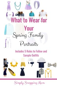 Five easy tips and and sample outfit selections for beautiful spring family portraits! Take the guess work out of searching for outfits! Family Portrait Outfits, Family Portraits, Family Photos, Photography Tips, Digital Photography, Family Photography, Portrait Photography, Spring Photos, Outdoor Photos