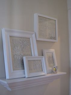 I used some frames I already had, added vintage paper, and some of the dollar store snowflakes.  So easy.