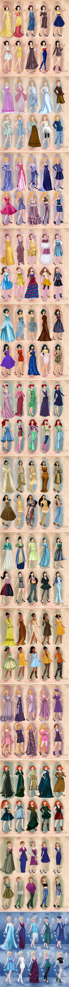 Disney princesses in 20th century clothing. I take some issue with the 1940s/1950s ones overall, but on the whole, pretty darn well done.