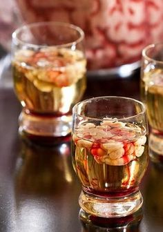 "Brain Hemorrhage Shooter Want your Halloween drinks even more gory? Then this is the shot for you! Ingredients: strawberry vodka, lime juice, Bailey's Irish Cream, grenadine. Shake vodka and lime juice, add to glass. Submerge a straw in Bailey's, hold your finger over it, and bring it to the shot glass, release, and repeat to make the ""brain"". Add the grenadine for the bloody look and serve."