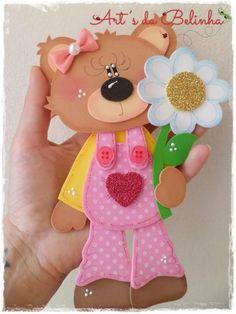Eu Amo Artesanato: Ursinhos em eva com moldes Kids Crafts, Foam Crafts, Diy And Crafts, Arts And Crafts, Paper Crafts, Felt Dolls, Paper Dolls, Unicorn Doll, Decorate Notebook