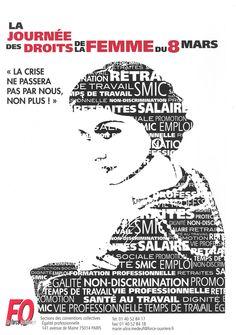 Cartel del día 8 de marzo, por el sindicato FO, en Francia.