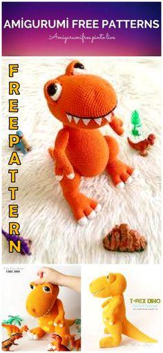 Amigurumi T-Rex Dino Free Crochet Pattern - Amigurumi Free Pinto Live Crochet Dinosaur Pattern Free, Bag Pattern Free, Crochet Amigurumi Free Patterns, Crochet Toys, Free Crochet, Stuffed Animal Patterns, Stuffed Animals, Crochet Animals, T Rex