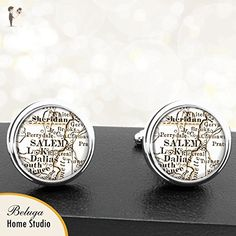 Salem OR Antique Map Cufflinks Handmade USA City Cuff Links State of Oregon - Groom fashion accessories (*Amazon Partner-Link)