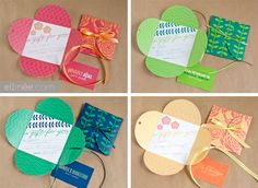 "free printables: four versions of petal ""a gift for you"" cards  {Ellinee}"